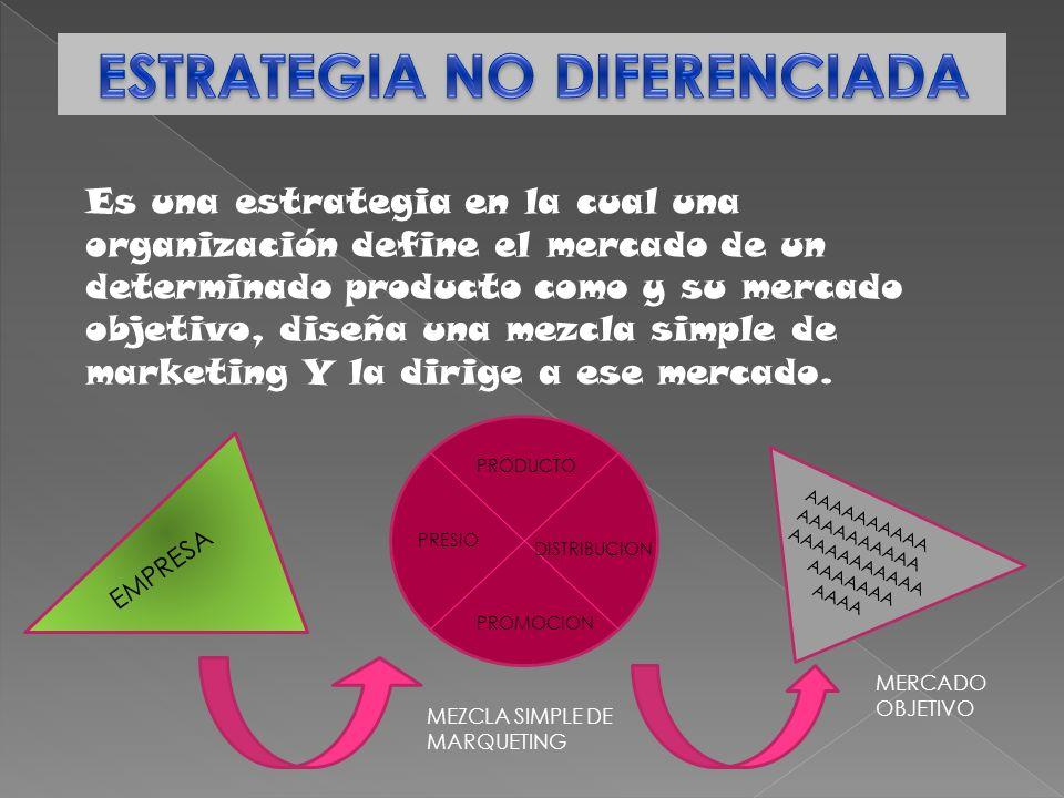 Es una estrategia en la cual una organización define el mercado de un determinado producto como y su mercado objetivo, diseña una mezcla simple de mar