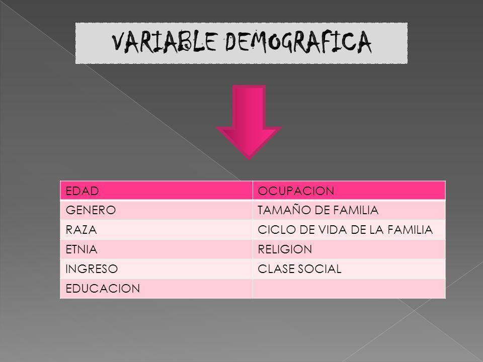 EDADOCUPACION GENEROTAMAÑO DE FAMILIA RAZACICLO DE VIDA DE LA FAMILIA ETNIARELIGION INGRESOCLASE SOCIAL EDUCACION