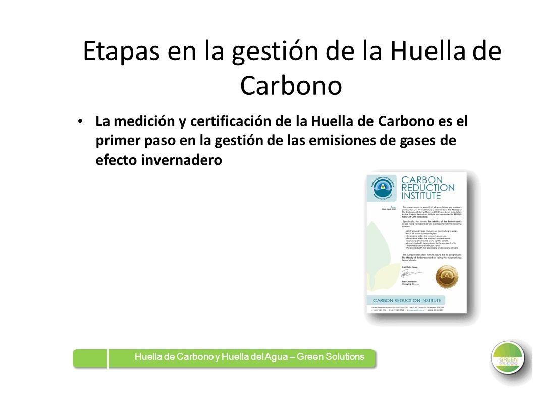 Etapas en la gestión de la Huella de Carbono La medición y certificación de la Huella de Carbono es el primer paso en la gestión delaslasemisiones dee