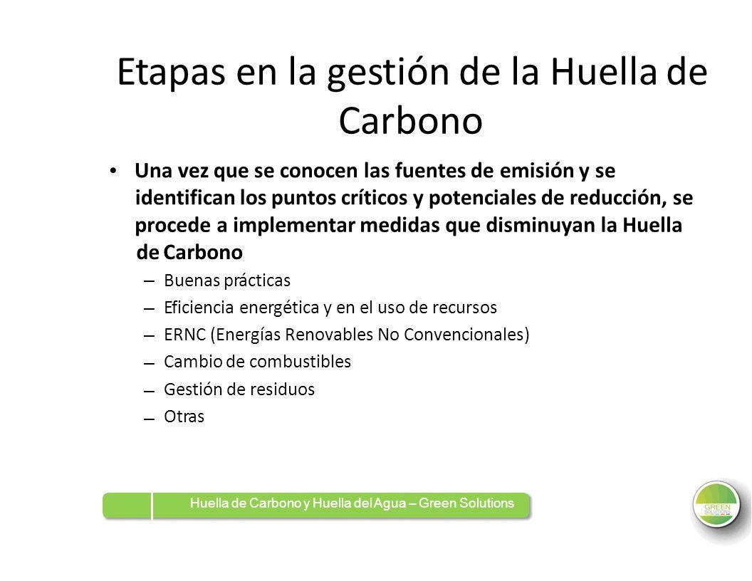 Etapas en la gestión de la Huella de Carbono Una vez que se conocen las fuentes de emisión y se identifican los puntos críticos y potenciales de reduc