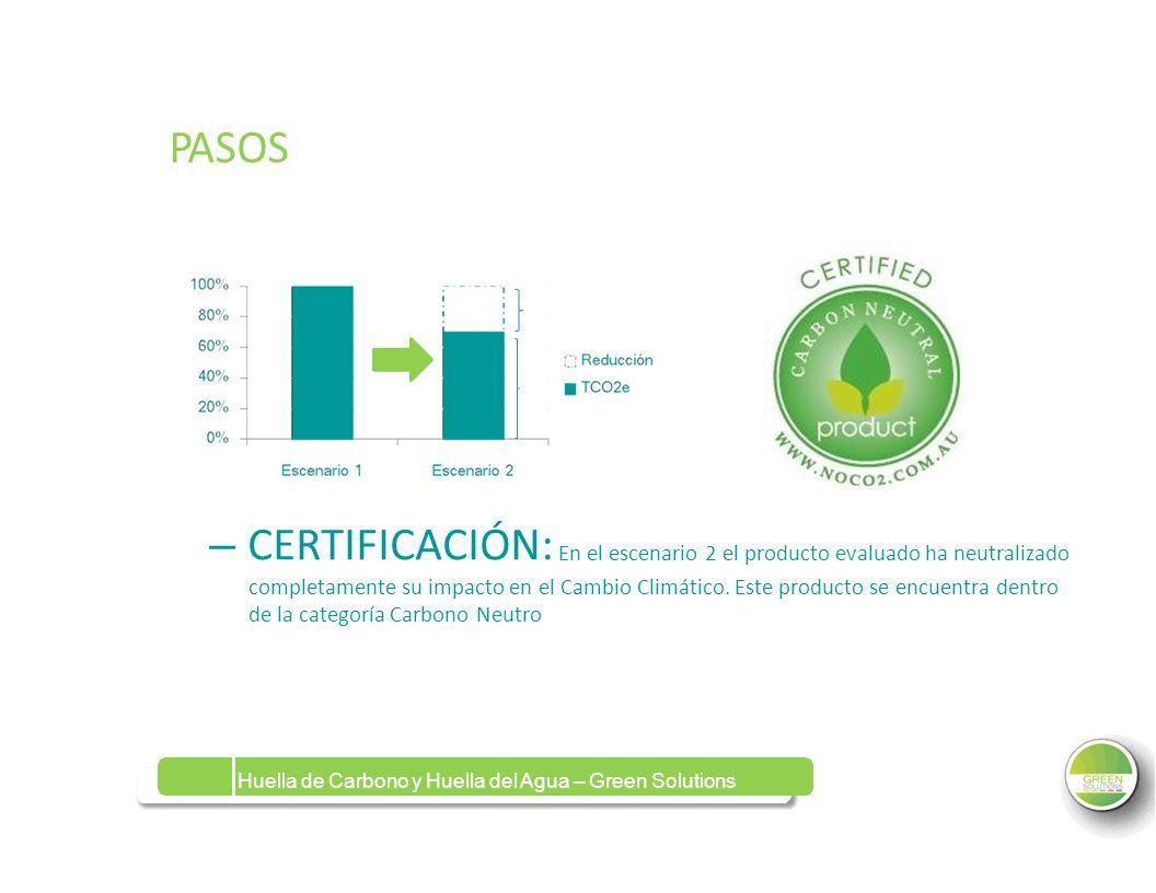 PASOSPASOS – CERTIFICACIÓN: En el escenario 2 el producto evaluado ha neutralizado completamente su impacto en el Cambio Climático. Este producto se e