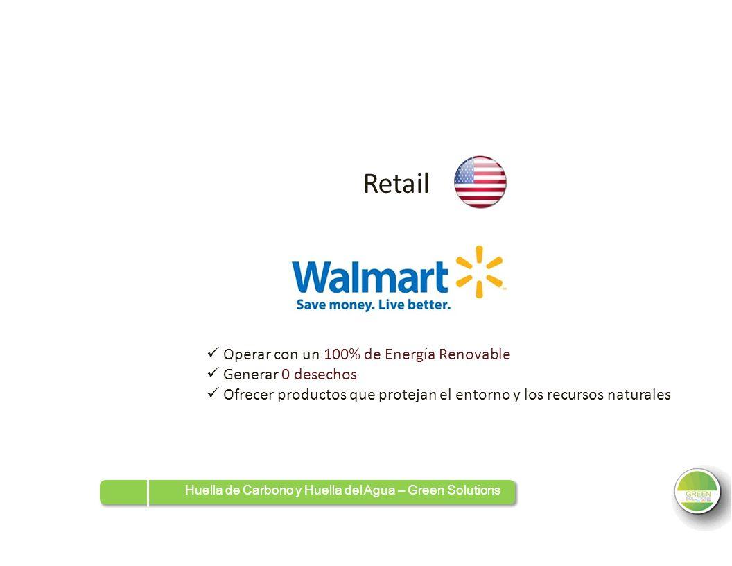 RetailRetail Operar con un 100% de Energía Renovable Generar 0 desechos Ofrecer productos que protejan el entorno y los recursos naturales Huella de C