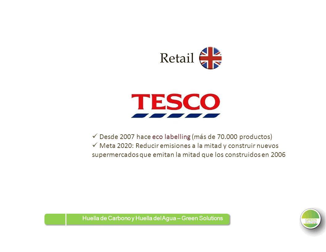 Retail Desde 2007 hace eco labelling (más de 70.000 productos) Meta 2020: Reducir emisiones a la mitad y construir nuevos supermercados que emitan la