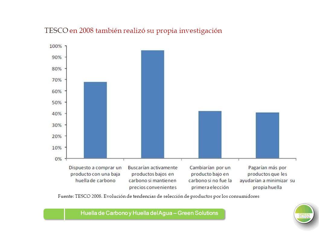 TESCO en 2008 también realizó su propia investigación Fuente: TESCO 2008. Evolución de tendencias de selección de productos por los consumidores Huell
