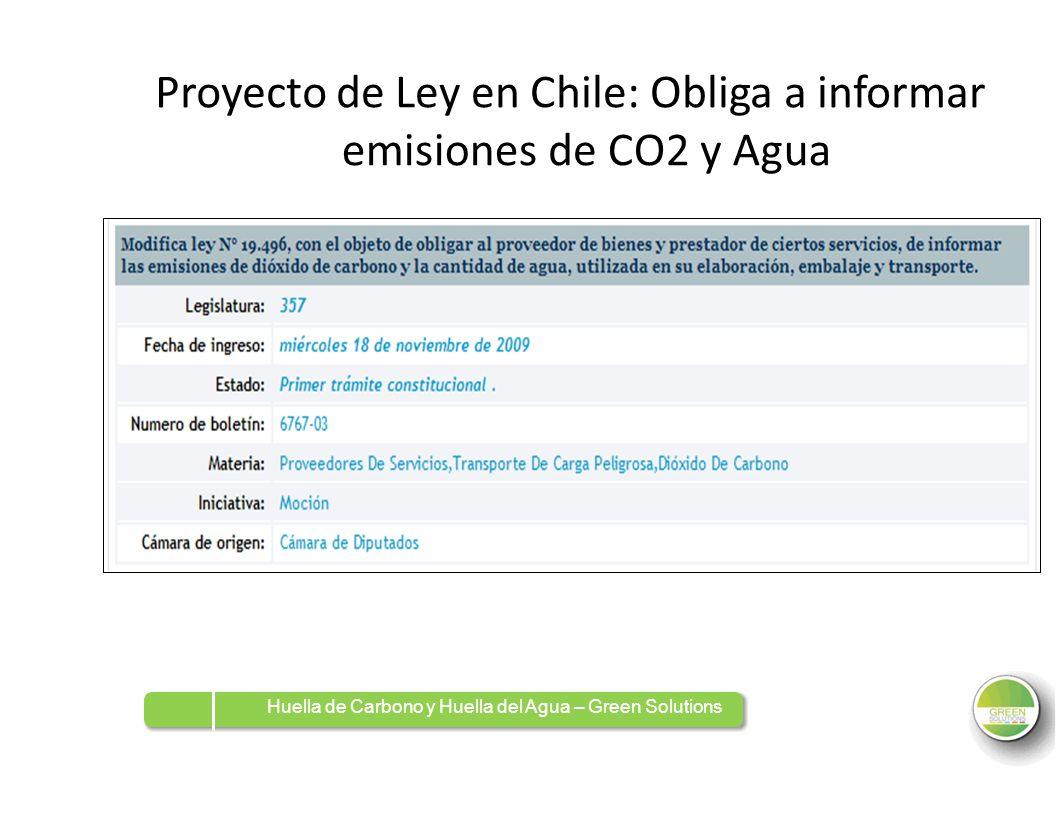 ProyectoProyectode Ley en Chile: Obliga a informar emisionesdeCO2CO2yAguaAgua Huella de Carbono y Huella del Agua – Green Solutions