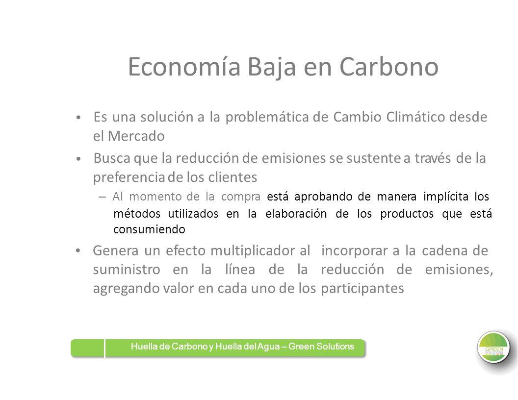Economía Baja en Carbono Es una solución a la problemática de Cambio Climático desde el Mercado Busca que la reducción de emisiones se sustente a trav