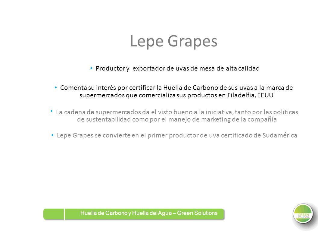 Lepe Grapes Productor y exportador de uvas de mesa de alta calidad Comenta su interés por certificar la Huella de Carbono de sus uvas a la marca de su