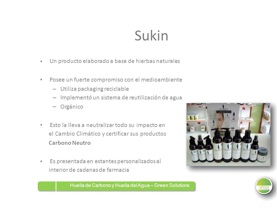 Sukin Un producto elaborado a base de hierbas naturales Posee un fuerte compromiso con el medioambiente –––––– Utiliza packaging reciclable Implementó
