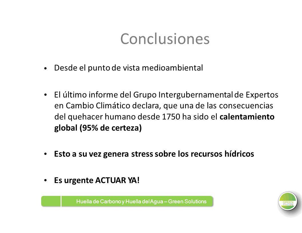 Conclusiones Desde el punto de vista medioambiental El último informe del Grupo Intergubernamental de Expertos en Cambio Climático declara, que una de