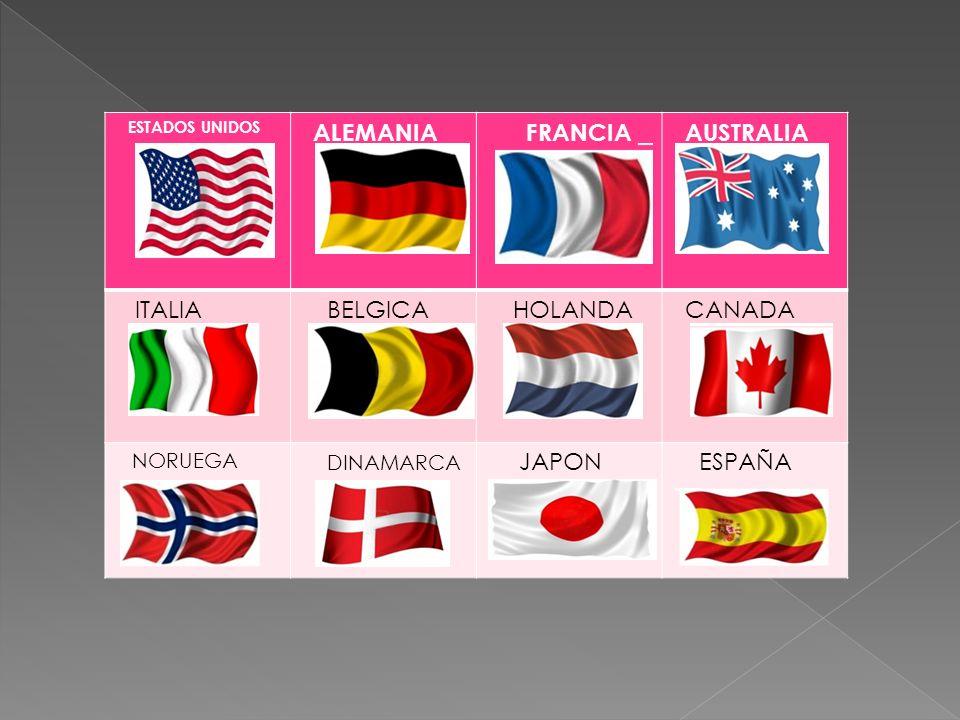 ESTADOS UNIDOS ALEMANIA FRANCIA AUSTRALIA ITALIA BELGICA HOLANDA CANADA NORUEGA DINAMARCA JAPON ESPAÑA