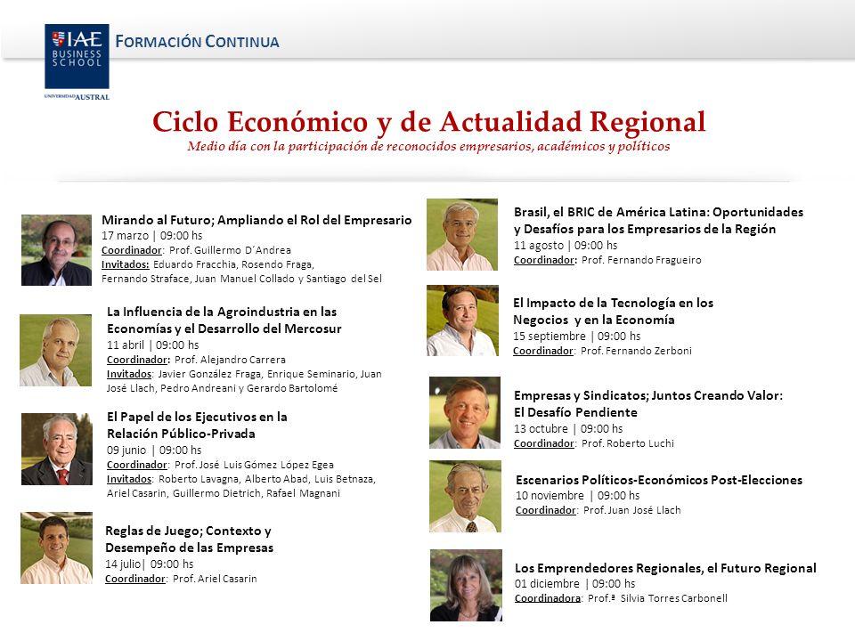 F ORMACIÓN C ONTINUA El Papel de los Ejecutivos en la Relación Público-Privada 09 junio | 09:00 hs Coordinador: Prof.