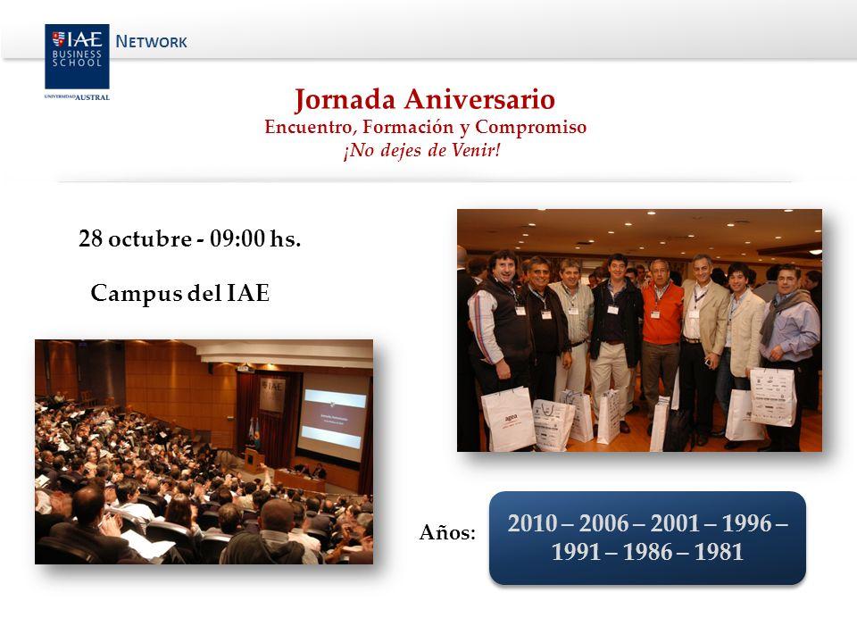 Jornada Aniversario Encuentro, Formación y Compromiso ¡No dejes de Venir! 28 octubre - 09:00 hs. Campus del IAE Años: 2010 – 2006 – 2001 – 1996 – 1991