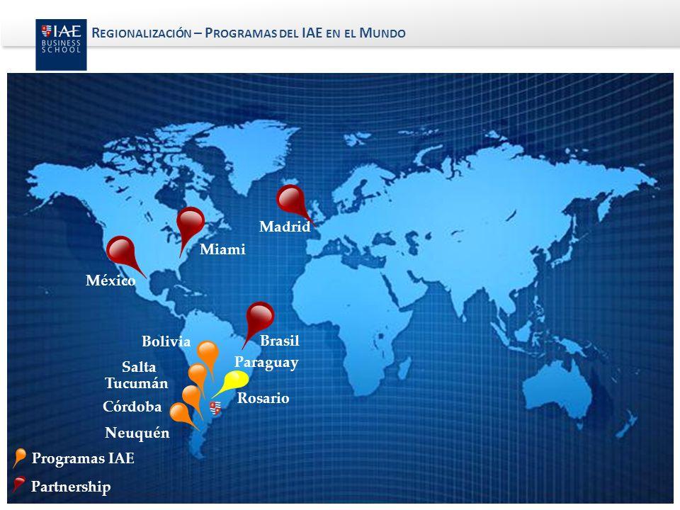 Miami México Madrid Brasil Rosario Programas IAE Partnership Paraguay Bolivia Tucumán Salta R EGIONALIZACIÓN – P ROGRAMAS DEL IAE EN EL M UNDO Córdoba