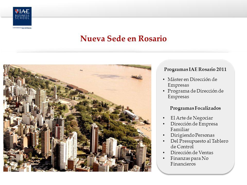 Programas IAE Rosario 2011 Máster en Dirección de Empresas Programa de Dirección de Empresas Programas Focalizados El Arte de Negociar Dirección de Em