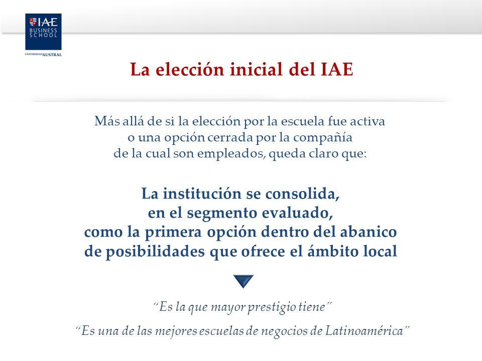 Más allá de si la elección por la escuela fue activa o una opción cerrada por la compañía de la cual son empleados, queda claro que: La institución se consolida, en el segmento evaluado, como la primera opción dentro del abanico de posibilidades que ofrece el ámbito local Es la que mayor prestigio tiene Es una de las mejores escuelas de negocios de Latinoamérica La elección inicial del IAE