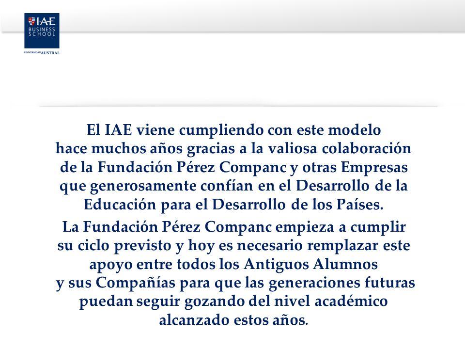 El IAE viene cumpliendo con este modelo hace muchos años gracias a la valiosa colaboración de la Fundación Pérez Companc y otras Empresas que generosa