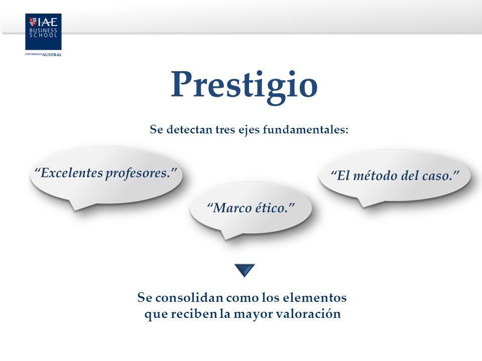 Se detectan tres ejes fundamentales: Se consolidan como los elementos que reciben la mayor valoración Prestigio