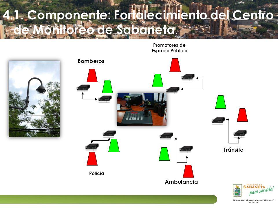 4.1. Componente: Fortalecimiento del Centro de Monitoreo de Sabaneta. Policia Ambulancia Bomberos Promotores de Espacio Público Tránsito