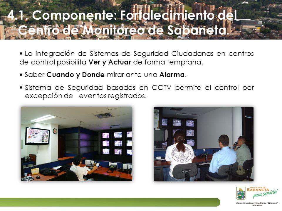 4.1. Componente: Fortalecimiento del Centro de Monitoreo de Sabaneta. La integración de Sistemas de Seguridad Ciudadanas en centros de control posibil