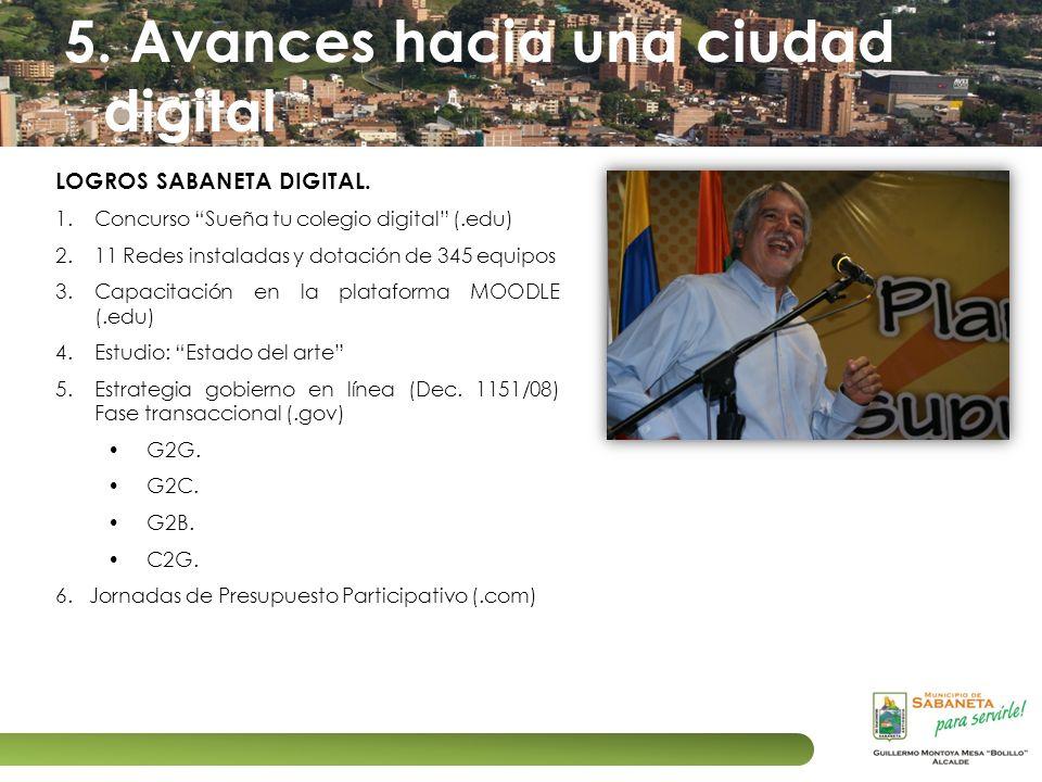 5. Avances hacia una ciudad digital LOGROS SABANETA DIGITAL. 1.Concurso Sueña tu colegio digital (.edu) 2.11 Redes instaladas y dotación de 345 equipo