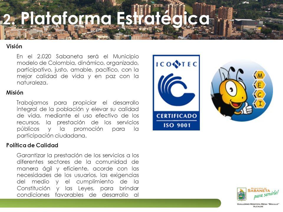Visión En el 2.020 Sabaneta será el Municipio modelo de Colombia, dinámico, organizado, participativo, justo, amable, pacífico, con la mejor calidad d