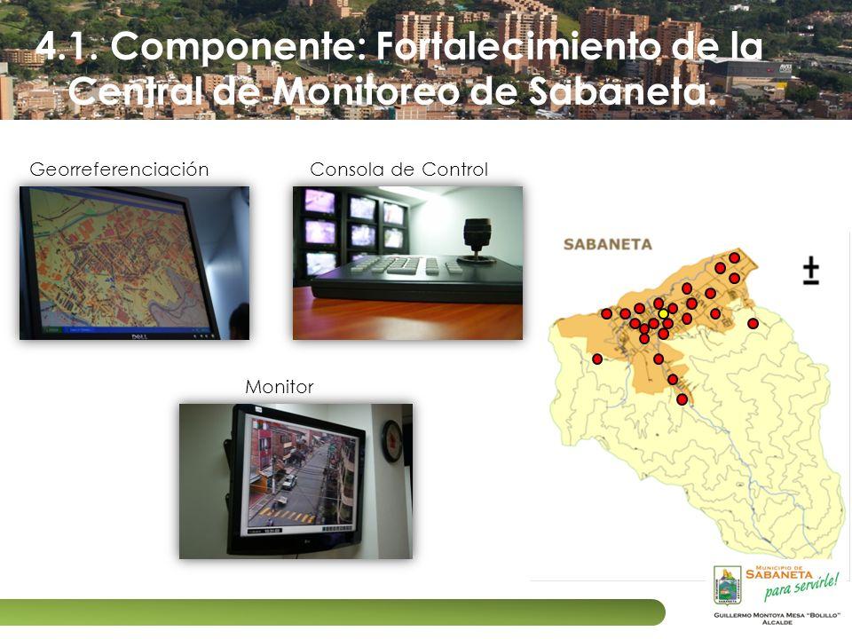 4.1. Componente: Fortalecimiento de la Central de Monitoreo de Sabaneta. Georreferenciación Monitor Consola de Control