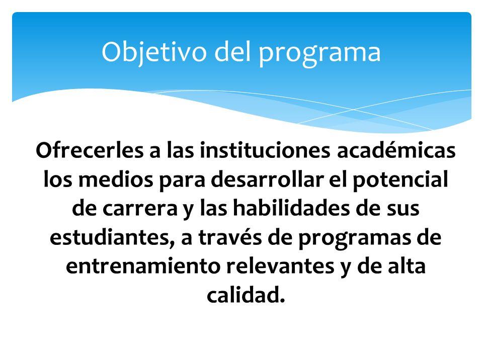 Ofrecerles a las instituciones académicas los medios para desarrollar el potencial de carrera y las habilidades de sus estudiantes, a través de programas de entrenamiento relevantes y de alta calidad.