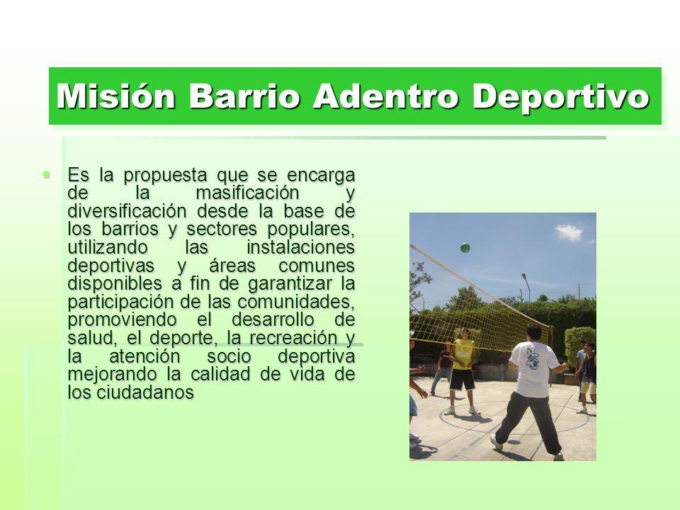 Misión Barrio Adentro Deportivo Es la propuesta que se encarga de la masificación y diversificación desde la base de los barrios y sectores populares,