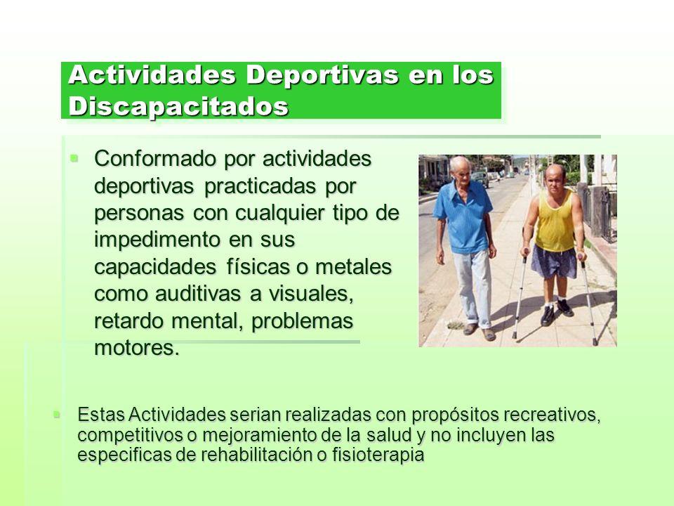 Actividades Deportivas en los Discapacitados Conformado por actividades deportivas practicadas por personas con cualquier tipo de impedimento en sus c