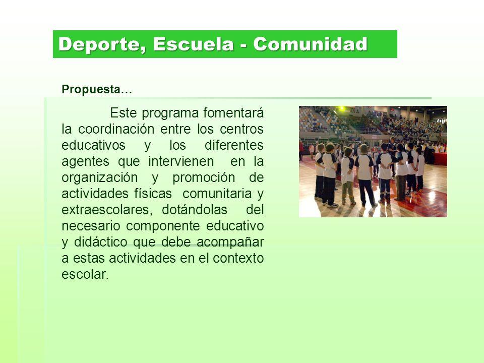 Propuesta… Este programa fomentará la coordinación entre los centros educativos y los diferentes agentes que intervienen en la organización y promoció