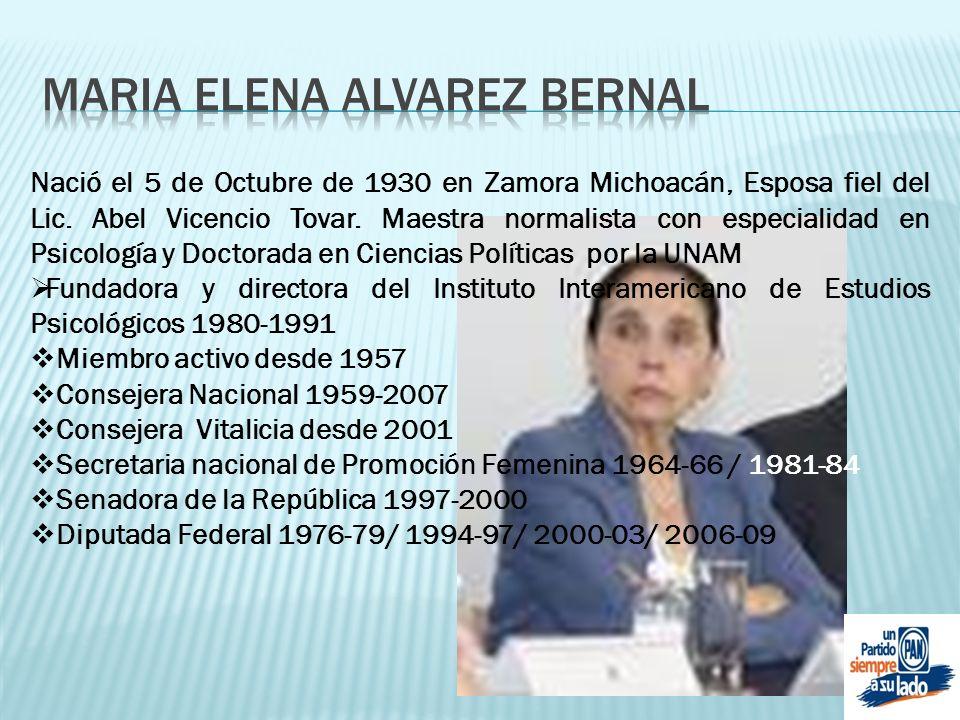 Nació el 5 de Octubre de 1930 en Zamora Michoacán, Esposa fiel del Lic. Abel Vicencio Tovar. Maestra normalista con especialidad en Psicología y Docto