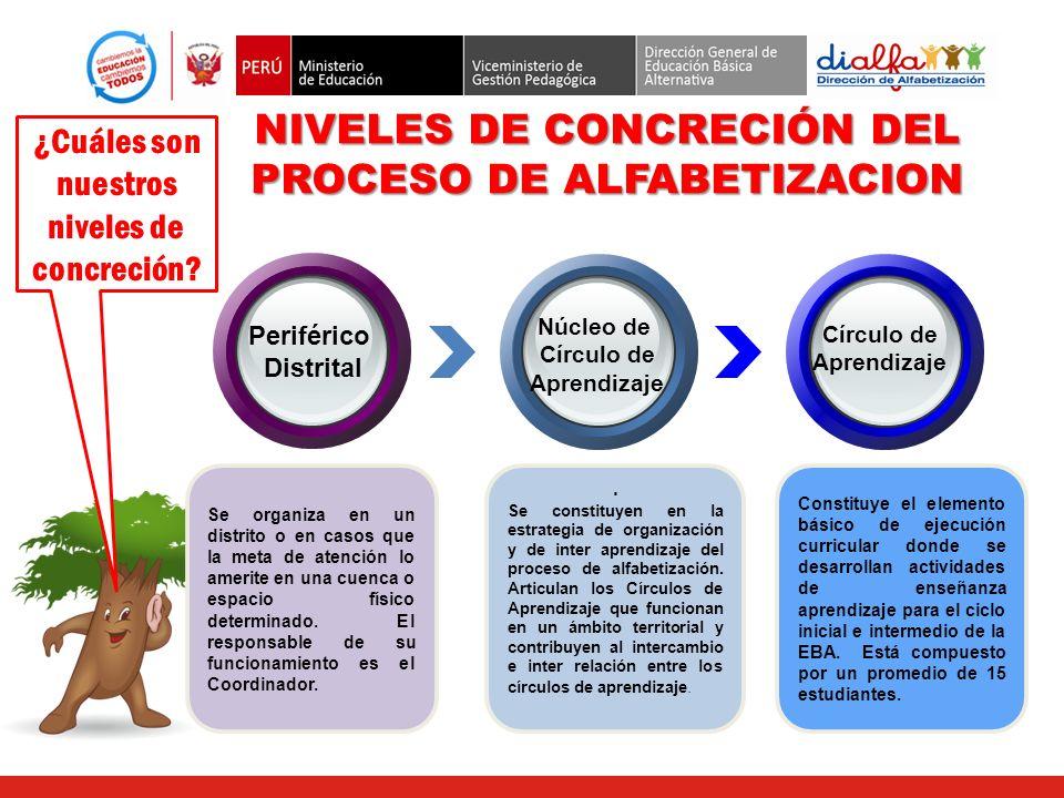 Los Núcleos de Círculos de Aprendizaje Se constituyen en la estrategia de organización y de inter aprendizaje del proceso de alfabetización. Articulan
