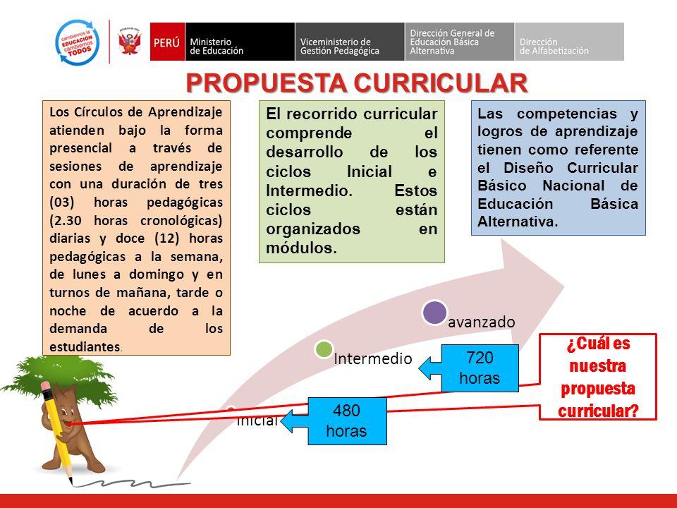 PROPUESTA CURRICULAR Los Círculos de Aprendizaje atienden bajo la forma presencial a través de sesiones de aprendizaje con una duración de tres (03) h