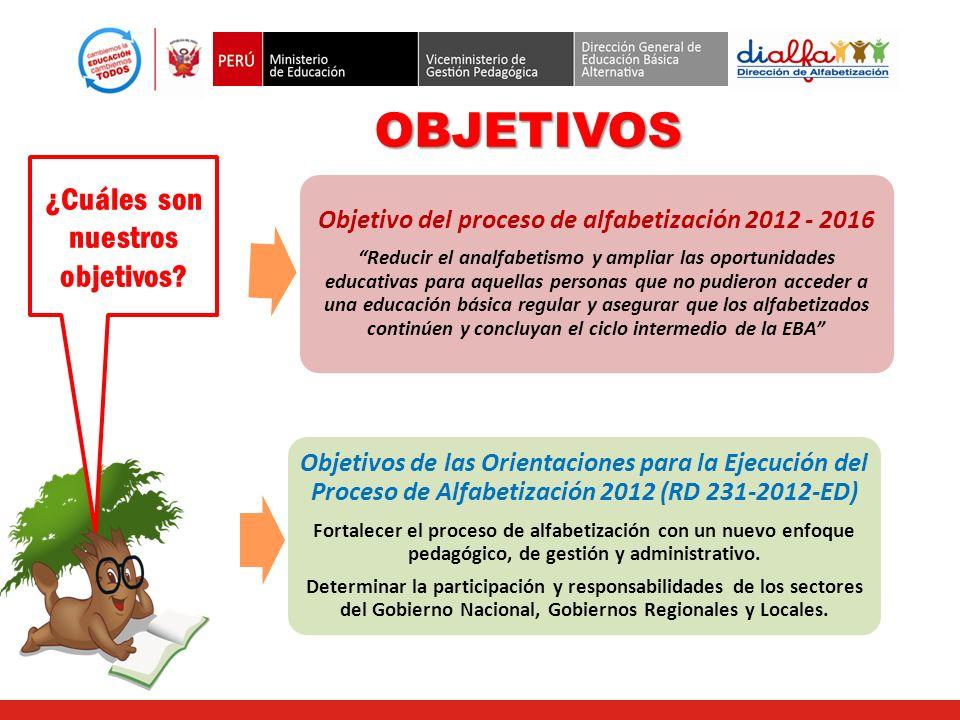 OBJETIVOS ¿Cuáles son nuestros objetivos? Objetivo del proceso de alfabetización 2012 - 2016 Reducir el analfabetismo y ampliar las oportunidades educ