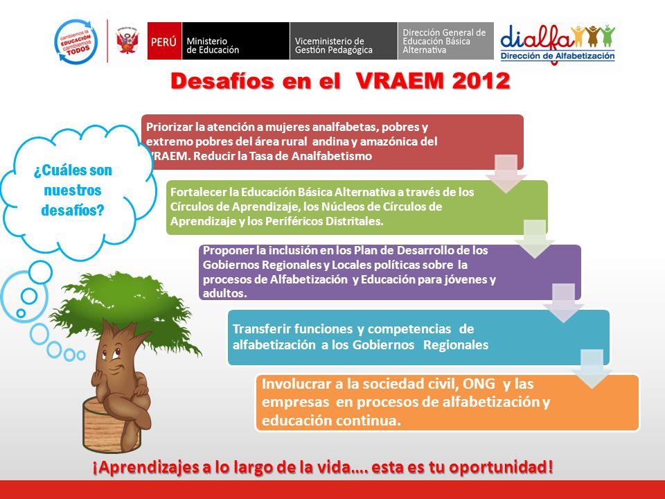 Priorizar la atención a mujeres analfabetas, pobres y extremo pobres del área rural andina y amazónica del VRAEM. Reducir la Tasa de Analfabetismo For