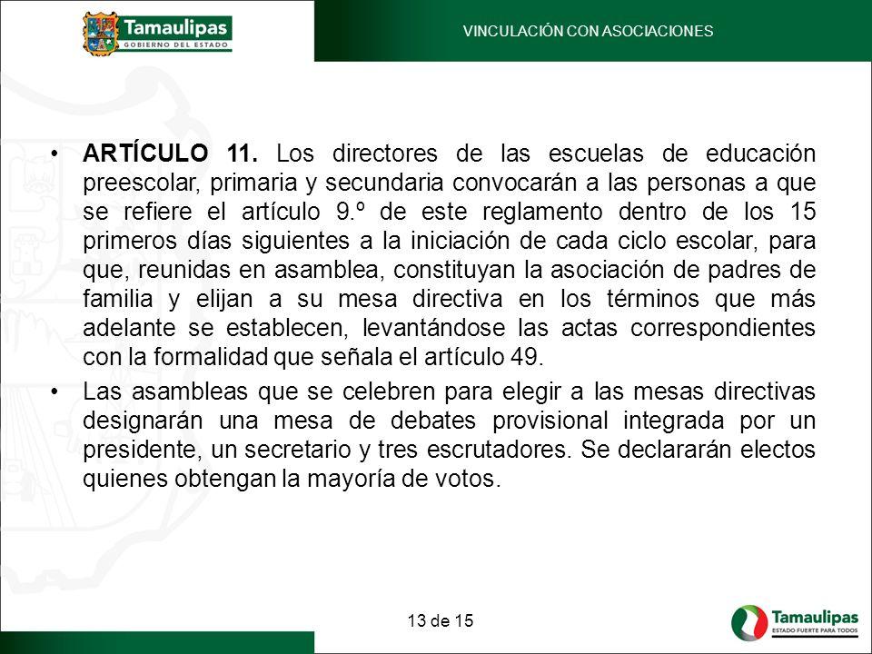 ARTÍCULO 11. Los directores de las escuelas de educación preescolar, primaria y secundaria convocarán a las personas a que se refiere el artículo 9.º