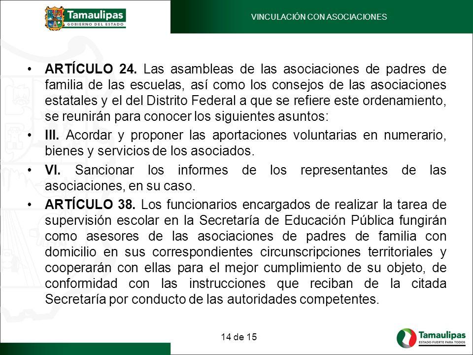 ARTÍCULO 24. Las asambleas de las asociaciones de padres de familia de las escuelas, así como los consejos de las asociaciones estatales y el del Dist