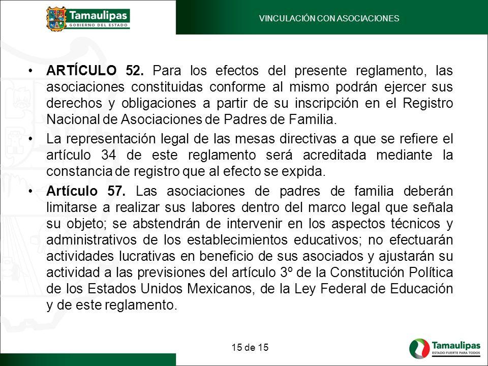 ARTÍCULO 52. Para los efectos del presente reglamento, las asociaciones constituidas conforme al mismo podrán ejercer sus derechos y obligaciones a pa