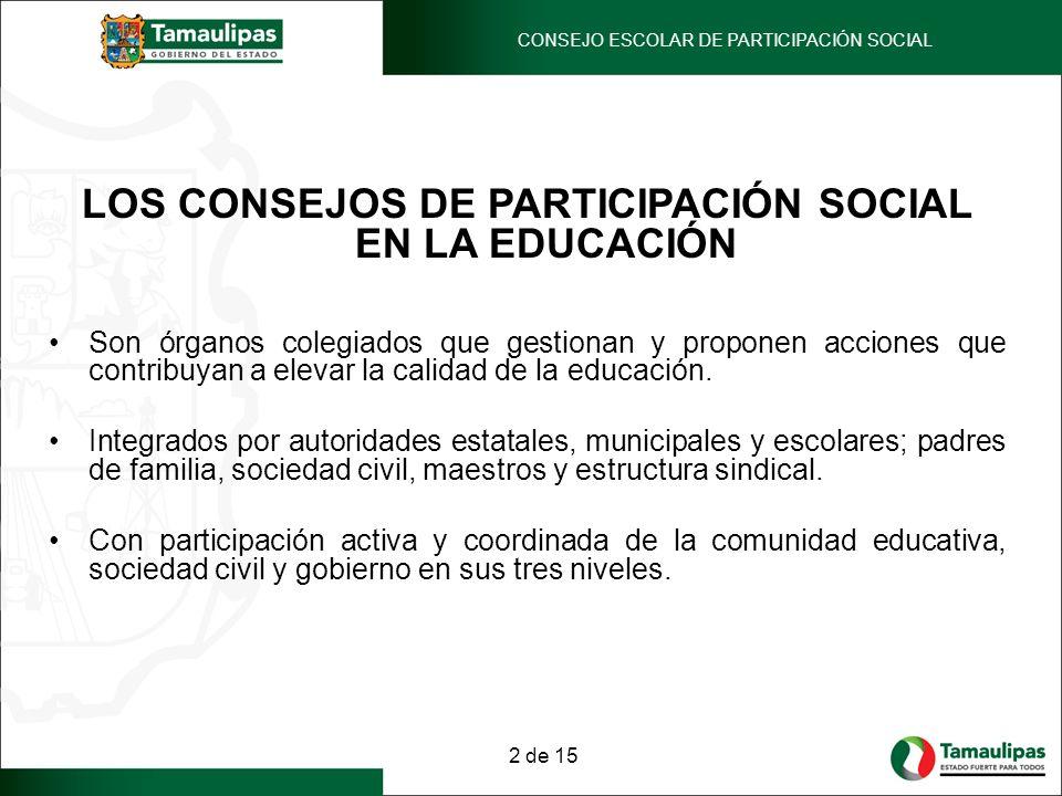 LOS CONSEJOS DE PARTICIPACIÓN SOCIAL EN LA EDUCACIÓN Son órganos colegiados que gestionan y proponen acciones que contribuyan a elevar la calidad de l