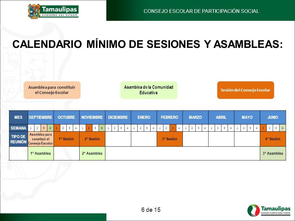 CALENDARIO MÍNIMO DE SESIONES Y ASAMBLEAS PARA EL CICLO ESCOLAR 2012-2013.