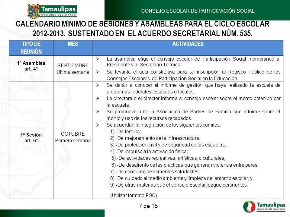 CALENDARIO MÍNIMO DE SESIONES Y ASAMBLEAS PARA EL CICLO ESCOLAR 2012-2013. SUSTENTADO EN EL ACUERDO SECRETARIAL NÚM. 535. TIPO DE REUNIÓN MESACTIVIDAD