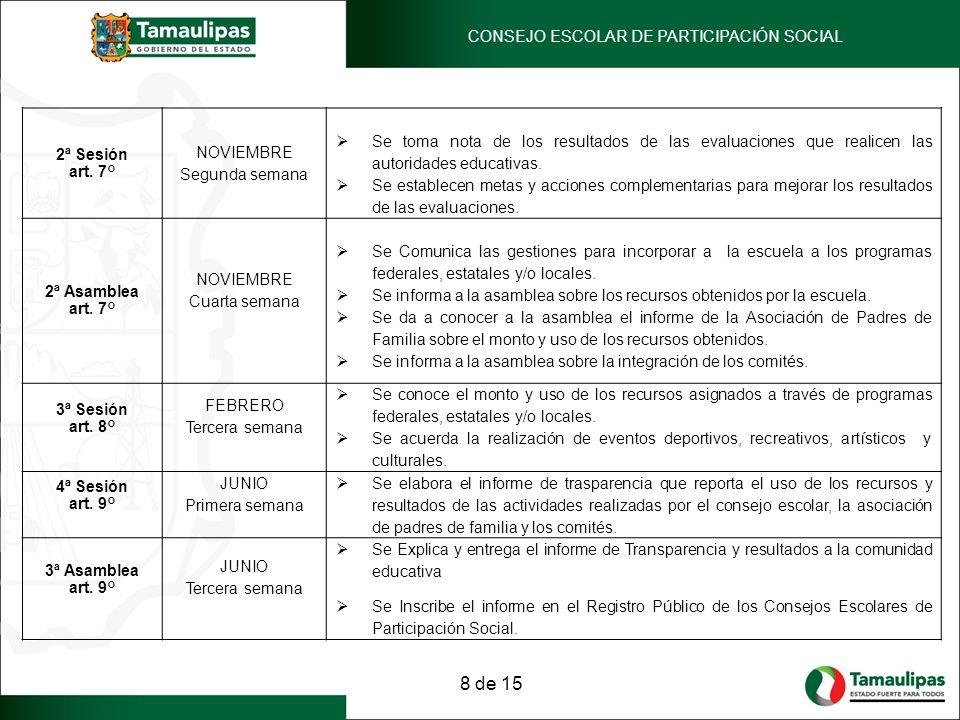 2ª Sesión art. 7° NOVIEMBRE Segunda semana Se toma nota de los resultados de las evaluaciones que realicen las autoridades educativas. Se establecen m