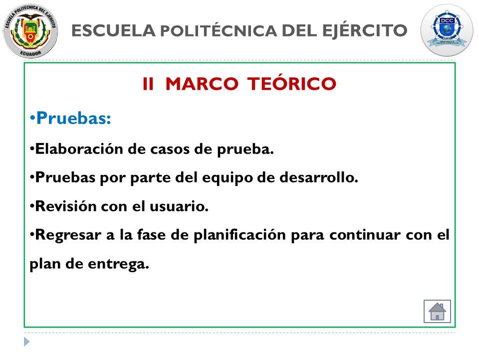 ESCUELA POLITÉCNICA DEL EJÉRCITO II MARCO TEÓRICO Pruebas: Elaboración de casos de prueba. Pruebas por parte del equipo de desarrollo. Revisión con el