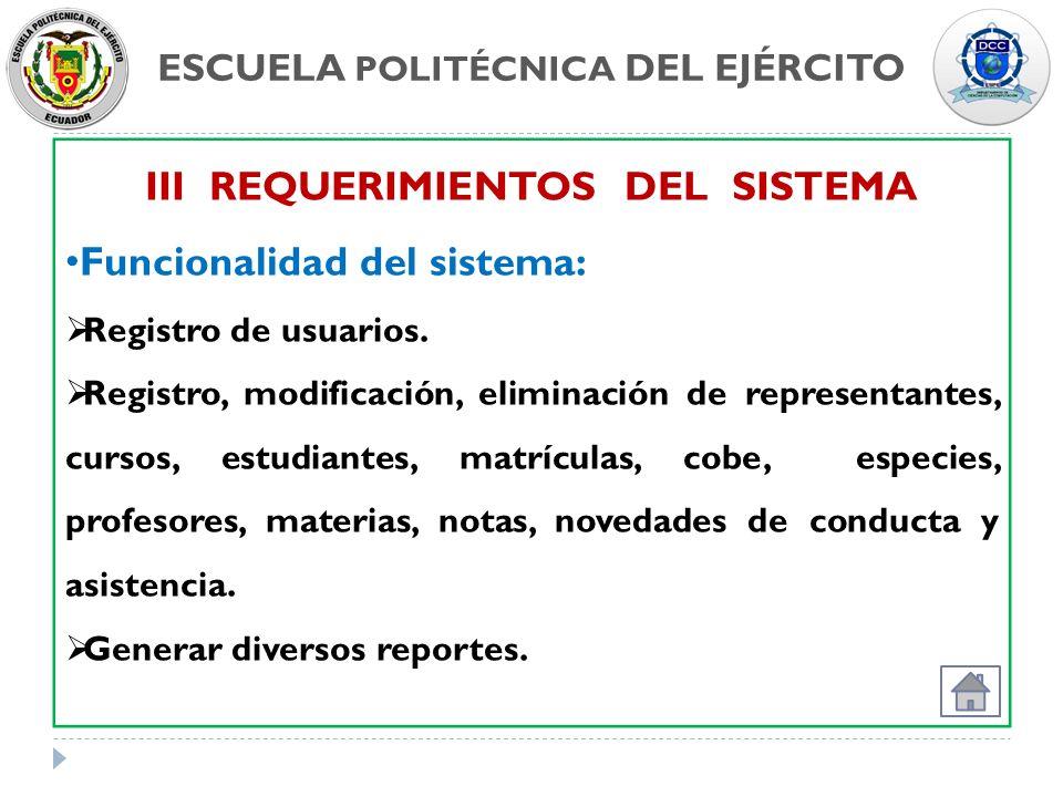 ESCUELA POLITÉCNICA DEL EJÉRCITO III REQUERIMIENTOS DEL SISTEMA Funcionalidad del sistema: Registro de usuarios. Registro, modificación, eliminación d