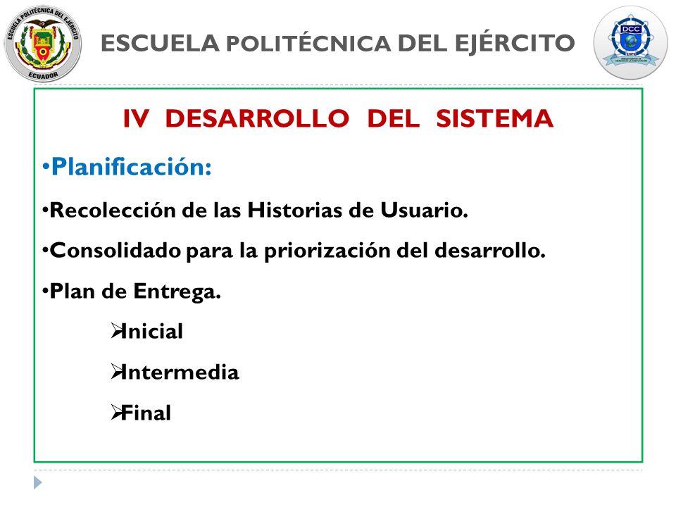 ESCUELA POLITÉCNICA DEL EJÉRCITO IV DESARROLLO DEL SISTEMA Planificación: Recolección de las Historias de Usuario. Consolidado para la priorización de