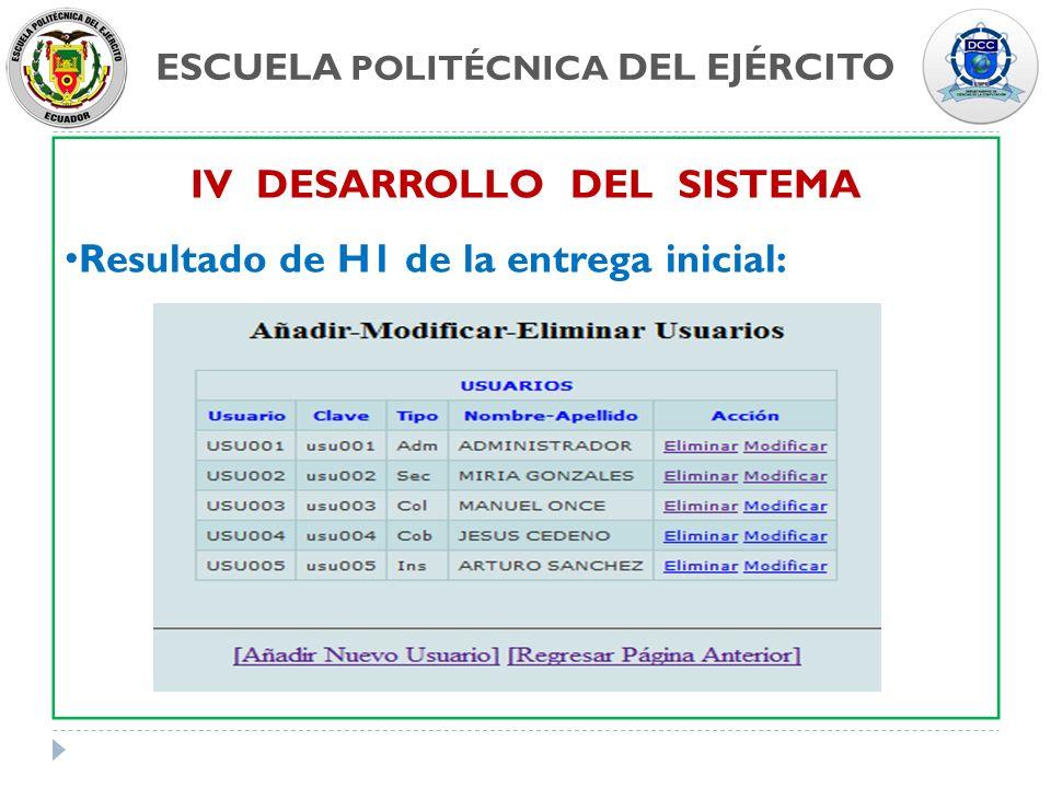 ESCUELA POLITÉCNICA DEL EJÉRCITO IV DESARROLLO DEL SISTEMA Resultado de H1 de la entrega inicial:
