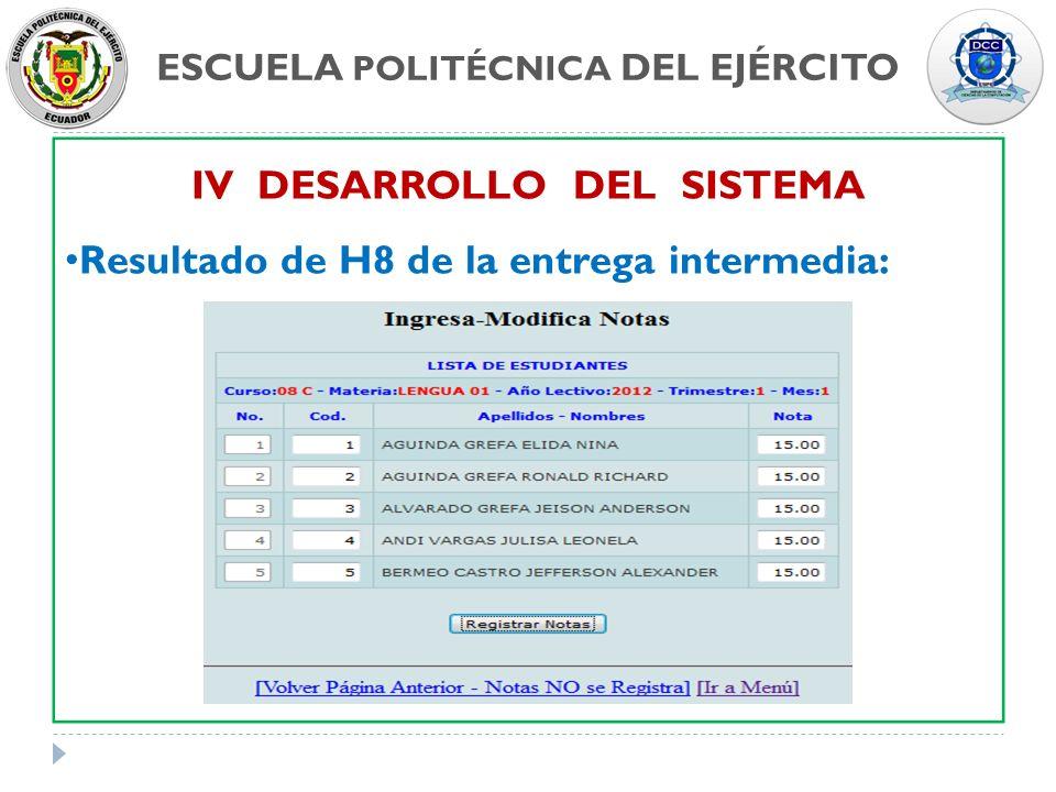 ESCUELA POLITÉCNICA DEL EJÉRCITO IV DESARROLLO DEL SISTEMA Resultado de H8 de la entrega intermedia: