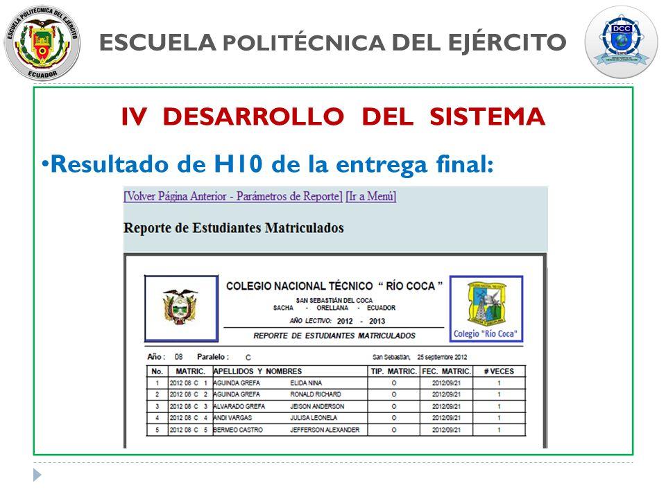 ESCUELA POLITÉCNICA DEL EJÉRCITO IV DESARROLLO DEL SISTEMA Resultado de H10 de la entrega final: