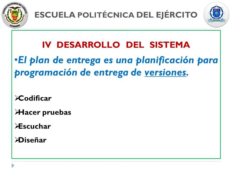 ESCUELA POLITÉCNICA DEL EJÉRCITO IV DESARROLLO DEL SISTEMA El plan de entrega es una planificación para programación de entrega de versiones. Codifica