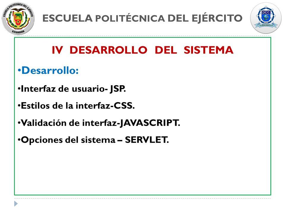 ESCUELA POLITÉCNICA DEL EJÉRCITO IV DESARROLLO DEL SISTEMA Desarrollo: Interfaz de usuario- JSP. Estilos de la interfaz-CSS. Validación de interfaz-JA